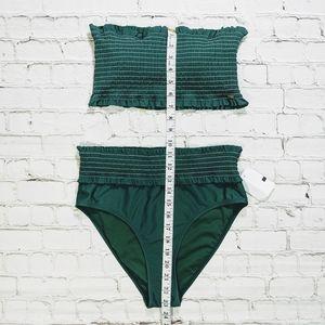 XOXO Swim - XOXO Green Bandeau Top High Waisted Swimsuit